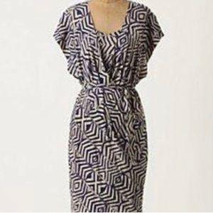 Anthropologie Tracy Reese Linen Ikat Wrap Dress
